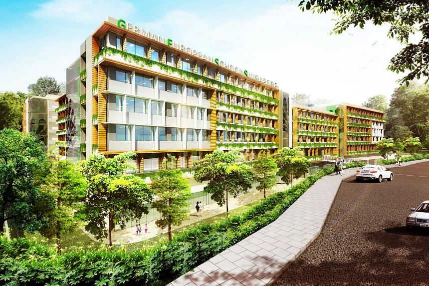 An artist's impression of the $135 million GESS campus. It will have environmentally friendly features in its building design, such as vertical greenery, a rainwater-harvesting system and rain garden to irrigate the plants and filter rainwater runoff