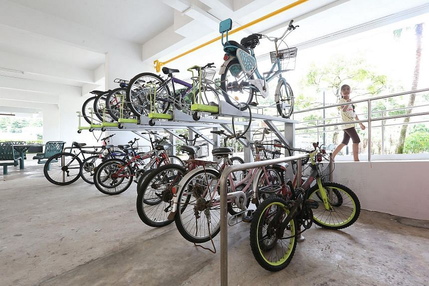 New double-tiered bicycle racks at Blk 229 Jurong East Street 21.