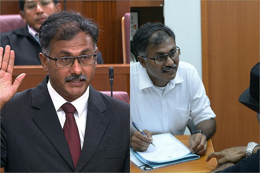 Hours after Mr Murali Pillai was sworn in as the new MP for Bukit Batok (left), he was back in the constituency for his first official duty - a Meet-the-People Session.