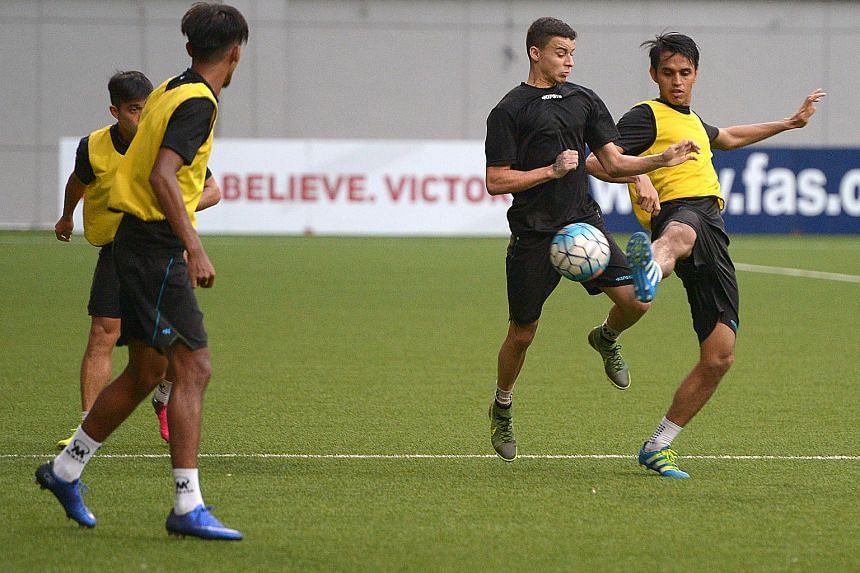 Tampines Rovers players training ahead of the AFC Cup clash against Selangor to be held at the National Stadium on May 10, 2016.