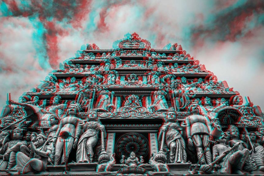 A 3D image of Sri Mariamman Temple that was created by Italian photographer Alberto Fanelli.