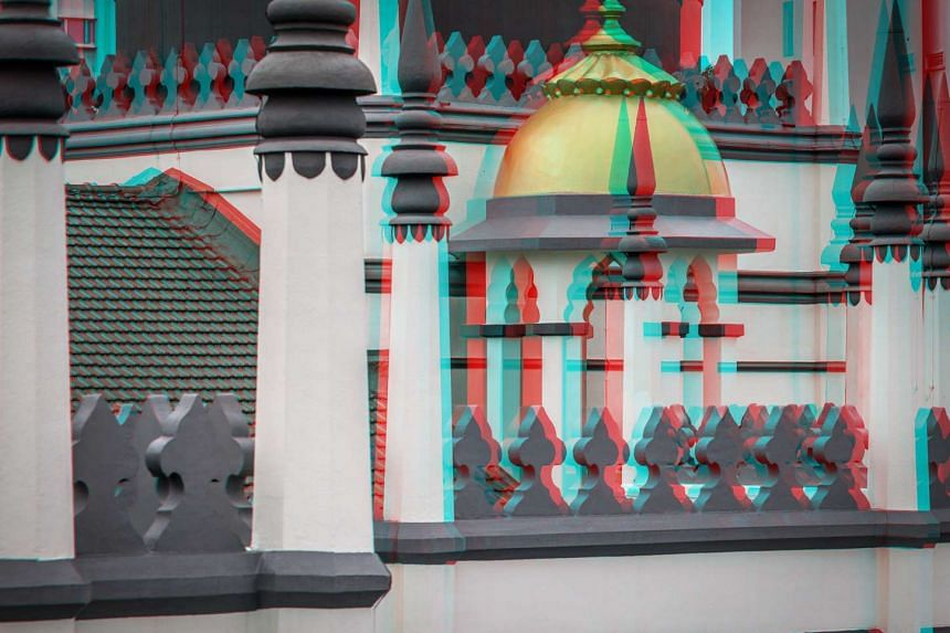 A 3D image of Sultan Mosque that was created by Italian photographer Alberto Fanelli.