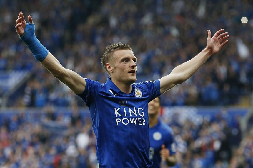 Jamie Vardy celebrating after scoring the third goal for Leicester City.