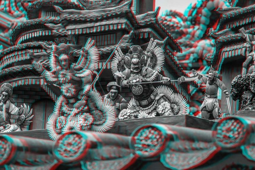 A 3D image of Yueh Hai Ching Temple that was created by Italian photographer Alberto Fanelli.