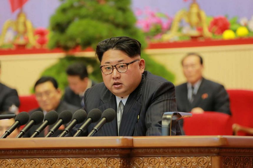 North Korean leader Kim Jong Un speaking at the Seventh Congress of the Workers' Party of Korea in Pyongyang.