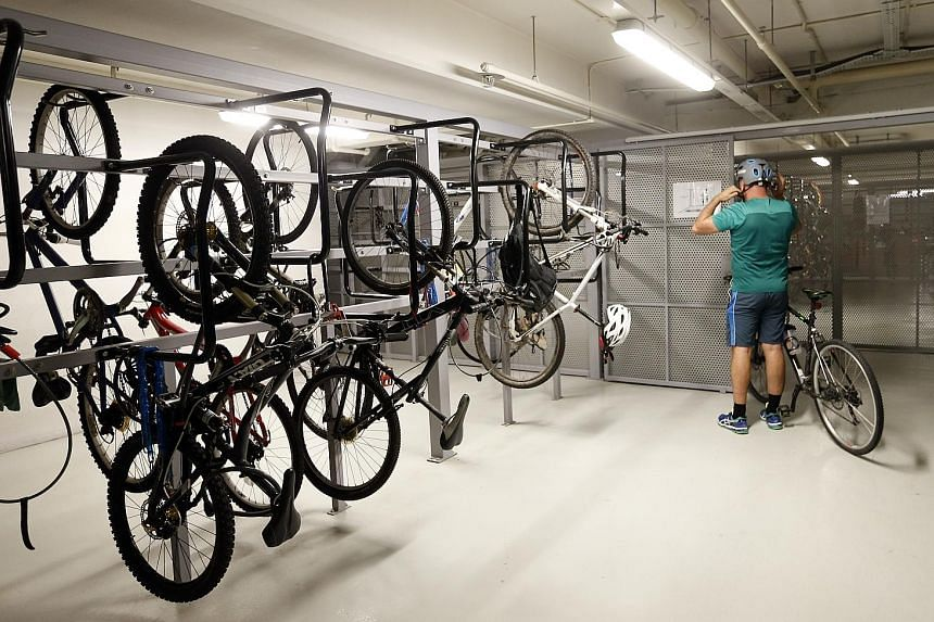 A bicycle park at Asia Square Tower One. Under the Walking and Cycling Plan announced last week, cycling and walking facilities will be incorporated when buildings are designed, starting from July.