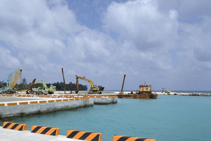 A construction site of a pier in Itu Aba on March 23.
