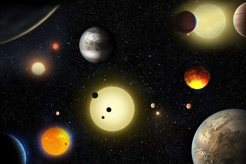 An artist's concept shows some of the planetary discoveries made to date by Nasa's Kepler space telescope.
