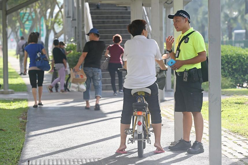 Land Transport Authority's first deployment of its Active Mobility Enforcement Officers along Woodlands Avenue 7 on Wednesday (May 11).