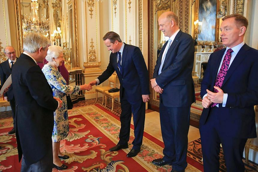 British Prime Minister David Cameron being introduced to Queen Elizabeth II at a reception in London's Buckingham Palace.