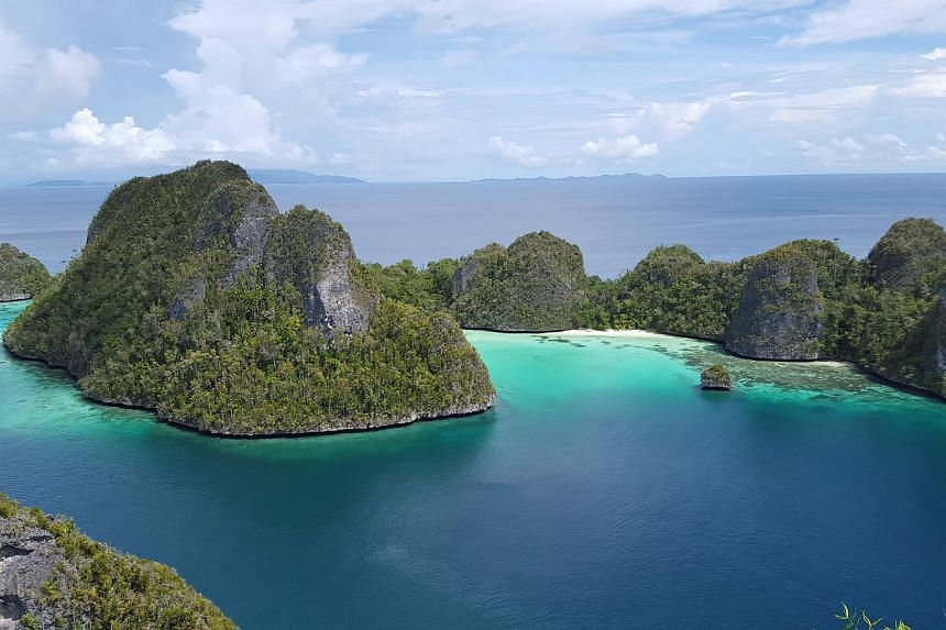 A birds eye view of the pristine white-sand beaches found in the Indonesian islands of Raja Ampat in eastern Indonesia.