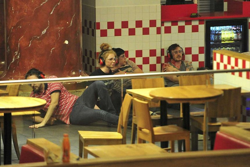 Volunteers hiding in a restaurant during the attack.