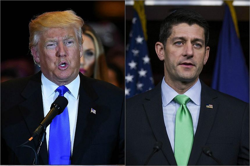 US Republican presidential candidate Donald Trump (left) and House of Representatives Speaker Paul Ryan.