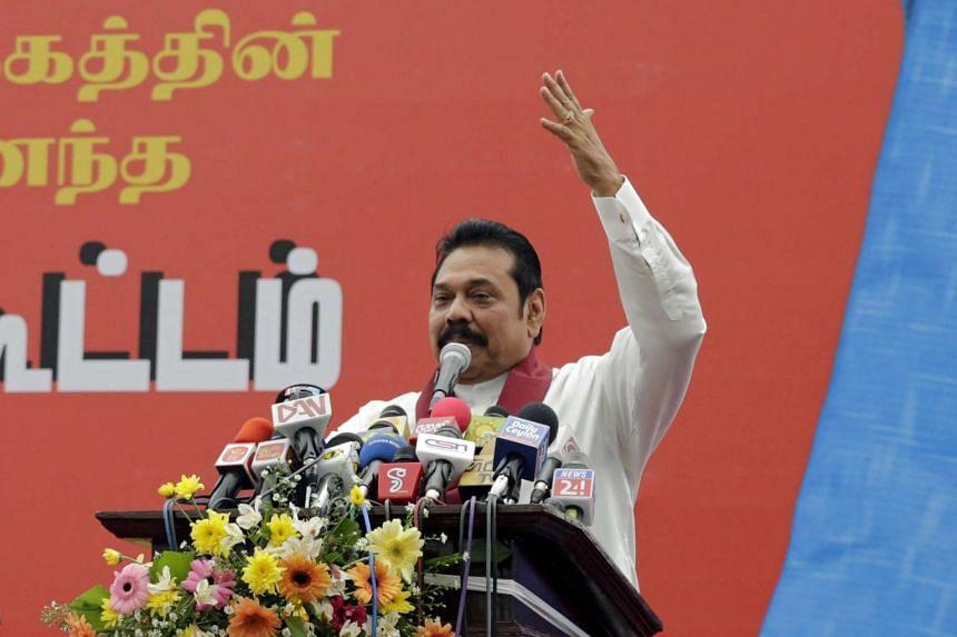 Former Sri Lankan President and incumbent Member of Parliament Mahinda Rajapaksa addressing the May Day rally in Colombo, Sri Lanka, on May 1, 2016.