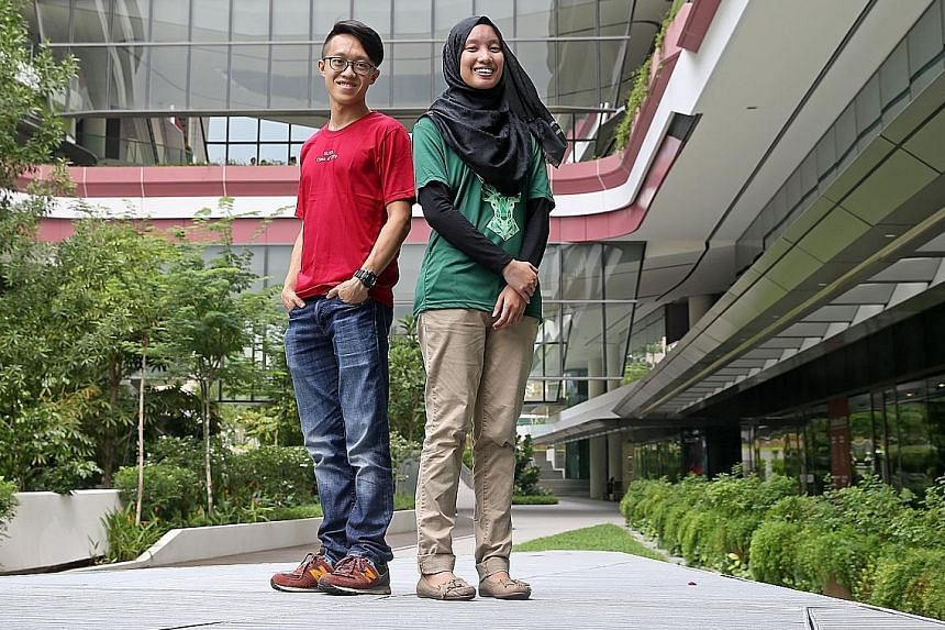 Mr Leong Hei Kern and Ms Afiffah Ab Ghapar are among the 467 students accepted by SUTD this year. Singapore's fourth university received 3,055 applications this year, an 18.4 per cent increase from last year.