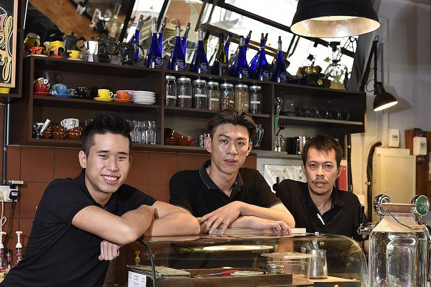 Keeping Tolido's Espresso Nook jiving are (from left) founder and head barista Douglas Tan, assistant chef Liew Khar Kheng and head chef Lee Ker Voon.
