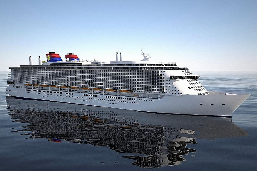 """Mr Lim, Genting Hong Kong chairman, with Lloyd Werft Group CEO Ruediger Pallentin (left) in Germany on Tuesday. Deals were signed for the construction of several cruise vessels, including two """"global class"""" ships (such as the one in the photo)."""
