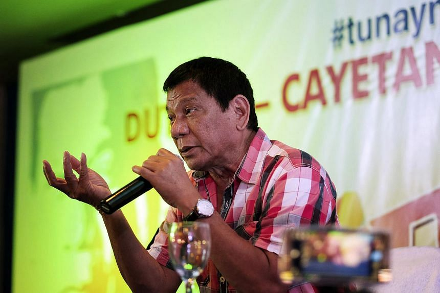 Philippine President-elect Rodrigo Duterte speaking at a news conference in Davao on May 9.