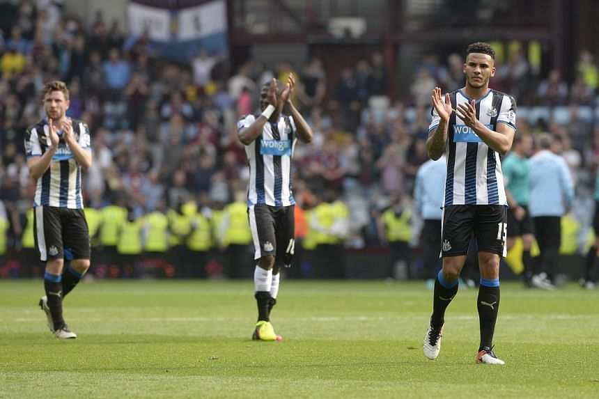 Newcastle's Jamaal Lascelles applauds the fans at the end of the match between Newcastle United and Aston Villa.