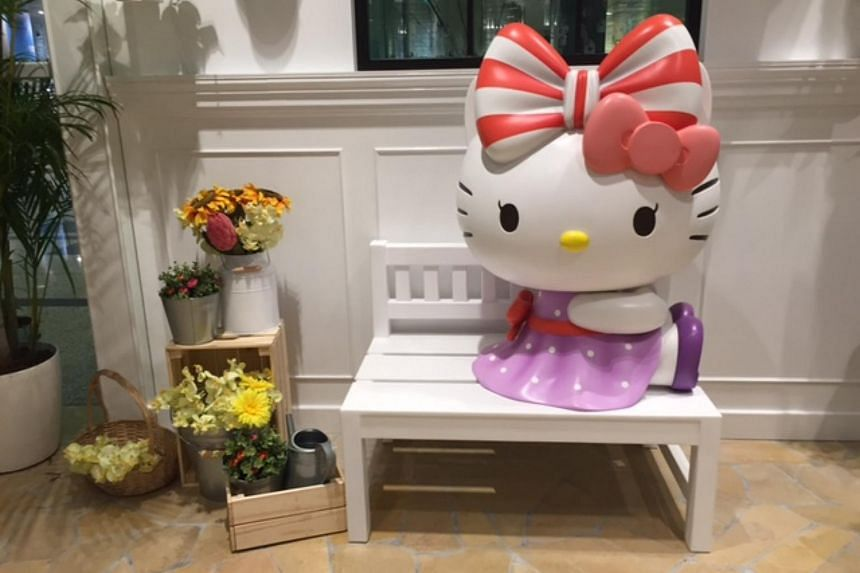 Hello Kitty decorations can be found all over the Hello Kitty cafe.