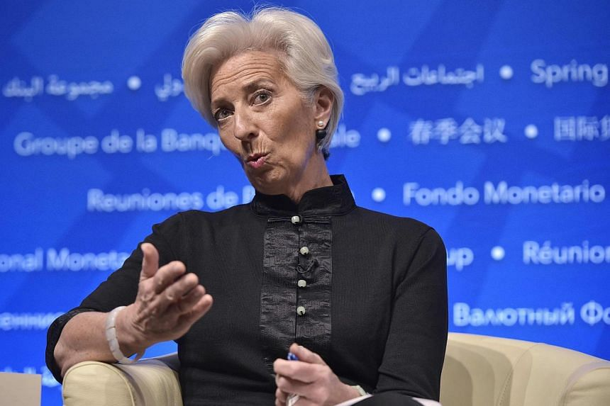 IMF Managing Director Christine Lagarde takes part in a forum on strengthening the international tax system during the annual International Monetary Fund, World Bank Spring Meetings.