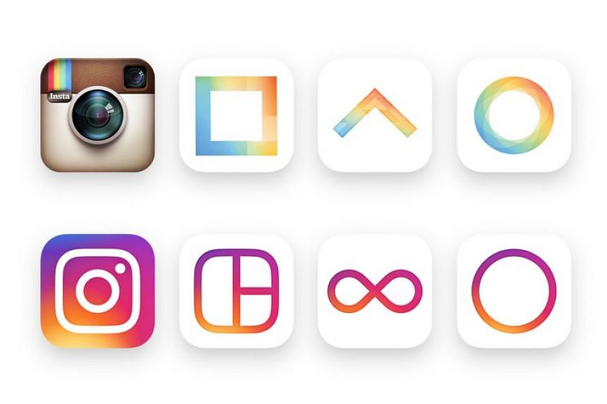 Instagram's new minimalist look compared to its older, more retro-looking logo.
