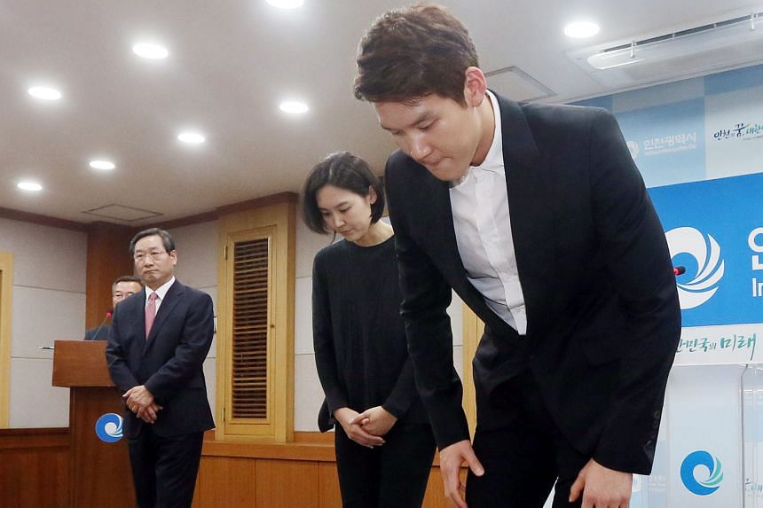 South Korea's 2008 Olympic swimming champion Park Tae Hwan bows at the Incheon City Hall on May 2 while apologising for doping. He has been omitted from the Korea Swimming Federation's preliminary list of athletes for the Rio Olympics.