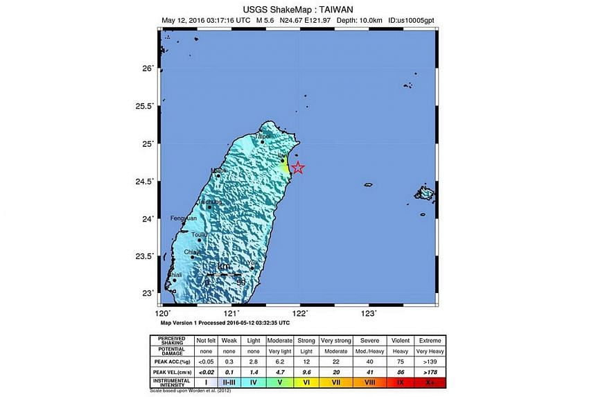 A shakemap released by the USGS shows the location of a 5.6 magnitude earthquake striking some 14km east-southeast of Su'ao Township in Yilan County, off the coast of northeast Taiwan on May 12, 2016.