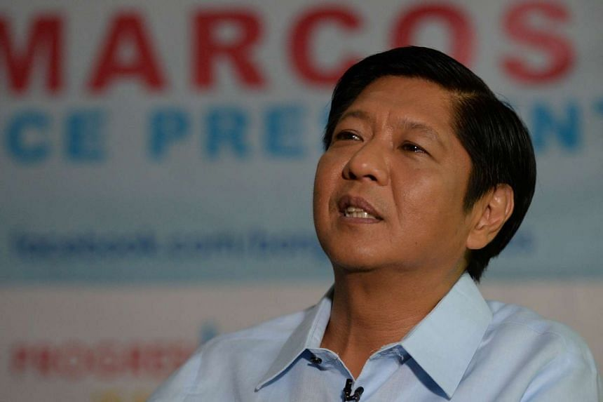 Ferdinand Marcos Jnr speaking during an interview at his campaign headquarters in Manila, on April 18, 2016.