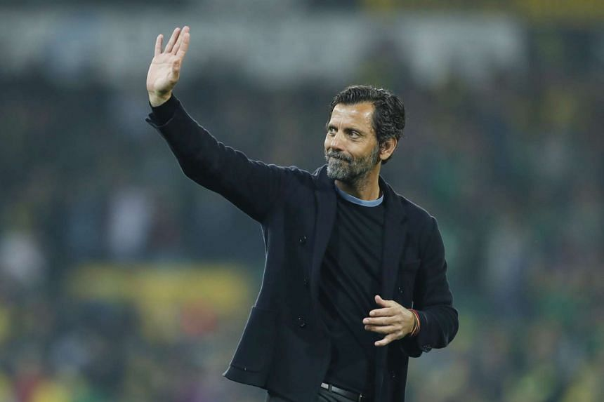 Watford manager Quique Sanchez Flores waves to fans at the end of the match, on May 11, 2016.