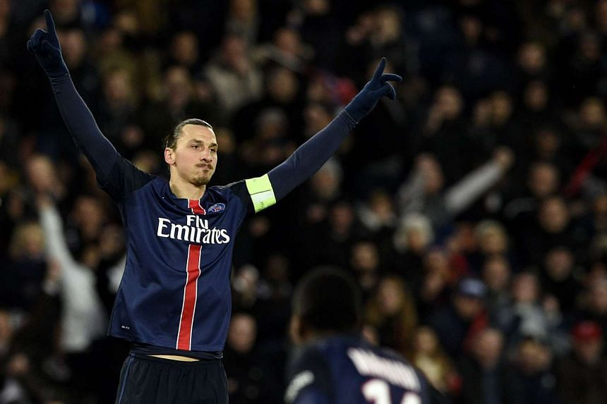 Zlatan Ibrahimovic celebrating after scoring a goal during a French L1 football match in Paris, on Jan 23, 2016.