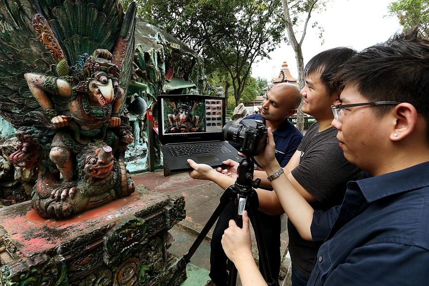 (From left) Autodesk engineers Mr Karthik; Michael Tay, 26; and Koh Naimin, 26. The team, working with the National Heritage Board, has visited Haw Par Villa repeatedly to photograph the Garuda sculpture using the new 3D-modelling software ReMake.