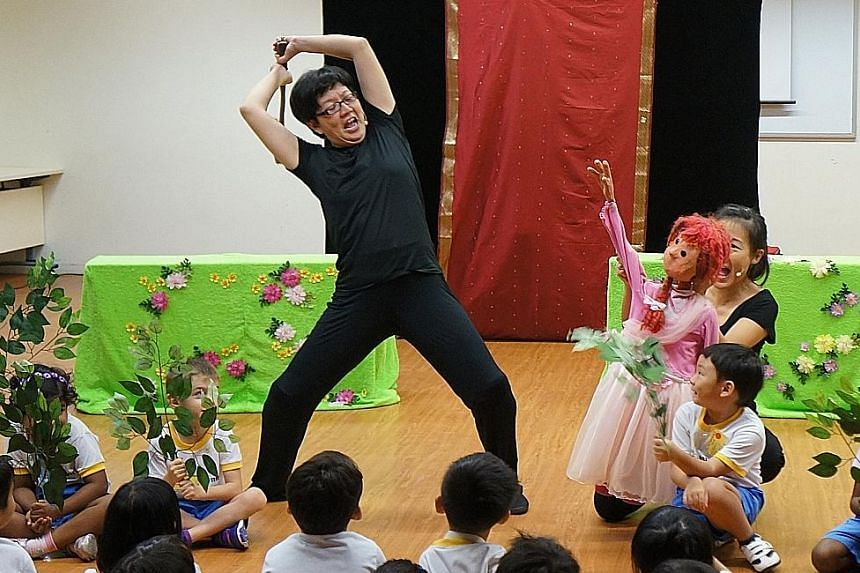 Paper Monkey Theatre conducting a performance at a kindergarten last year as part of the NAC-Arts Education Programme.