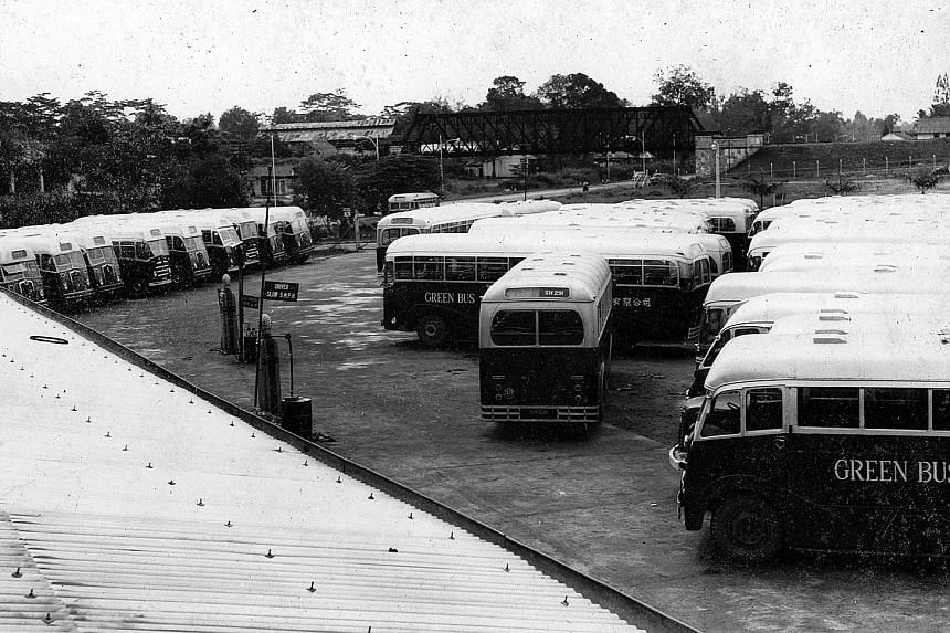 """The depot of the Green Bus Company in King Albert Park. The company was established in the mid-1930s by Ong Chin Chuan and several other partners. Prior to the war, it was one of 10 companies which ran """"mosquito buses"""" or small seven-seater motor bus"""