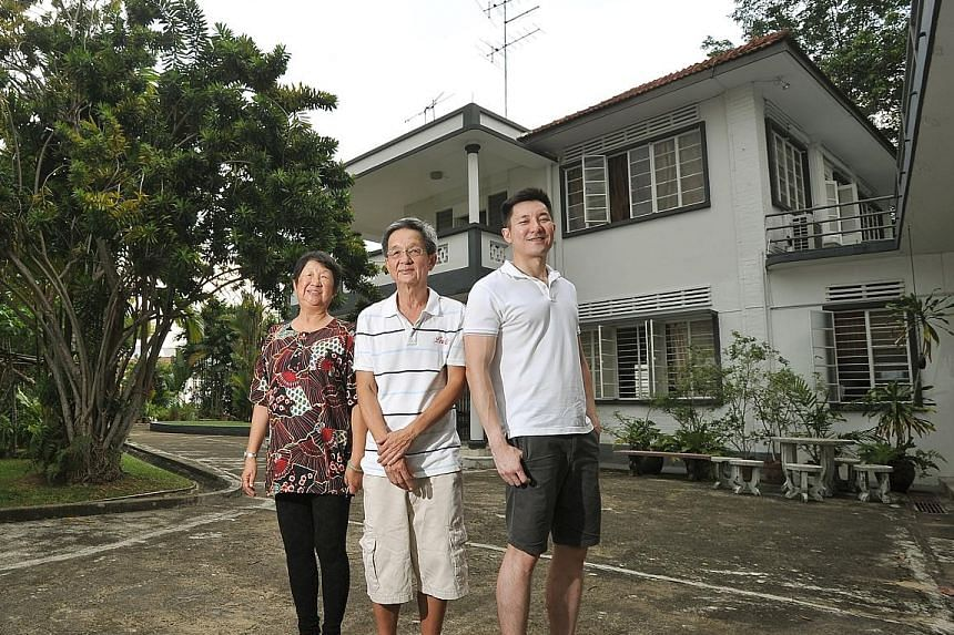 From left: The office of Green Bus Company in Queen Street; Mr Ong Cheng Siang (in white shirt) with a friend; Mr Ong Lek Meng with his sister, Madam Ong Bee Geok, together with Mr Patrick Ong outside their home.
