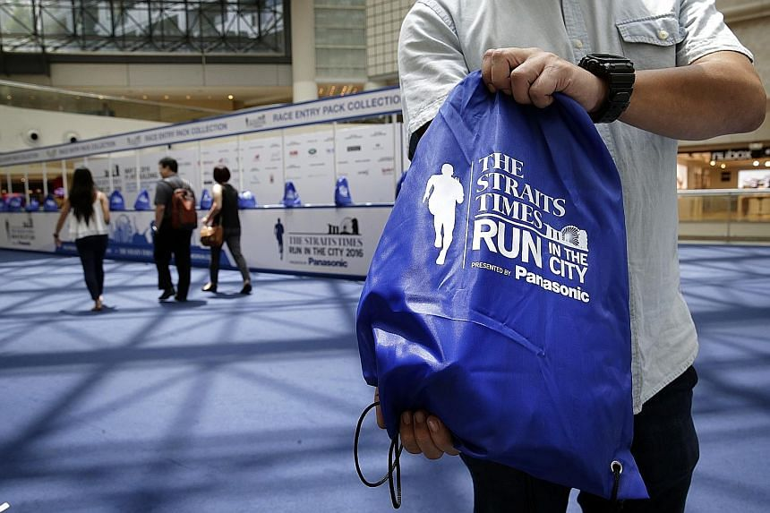 Readers who signed up for the upcoming The Straits Times Run in the City on May 22 can collect their race entry packs from today until Sunday (10.30am to 8pm) at Raffles City Atrium (Level 3). Each day, the first 150 participants to collect their rac