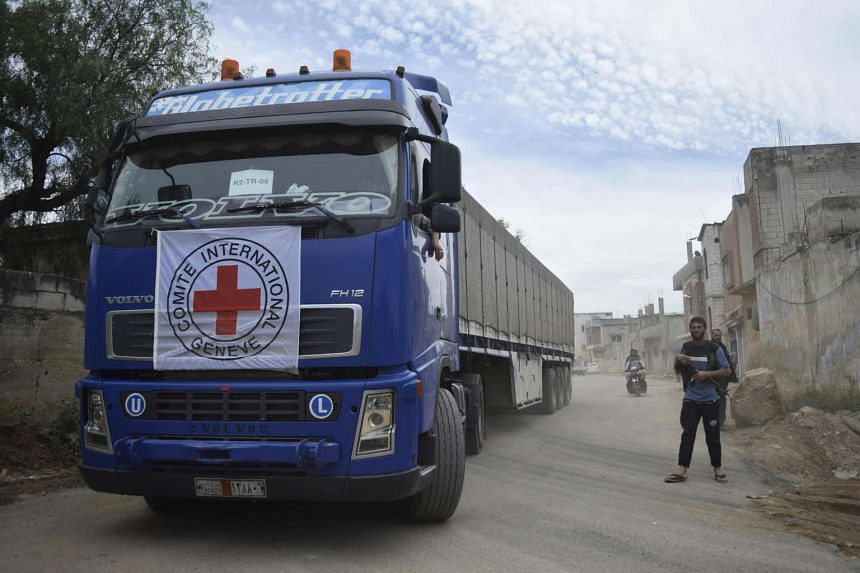 A Red Cross aid truck in central Syria on April 25, 2016.