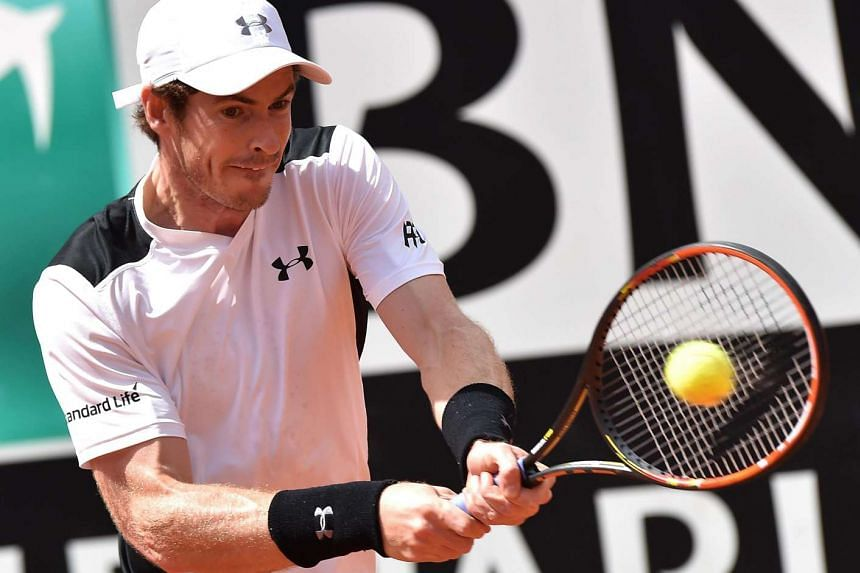 Murray in action against Goffin on May 13, 2016.