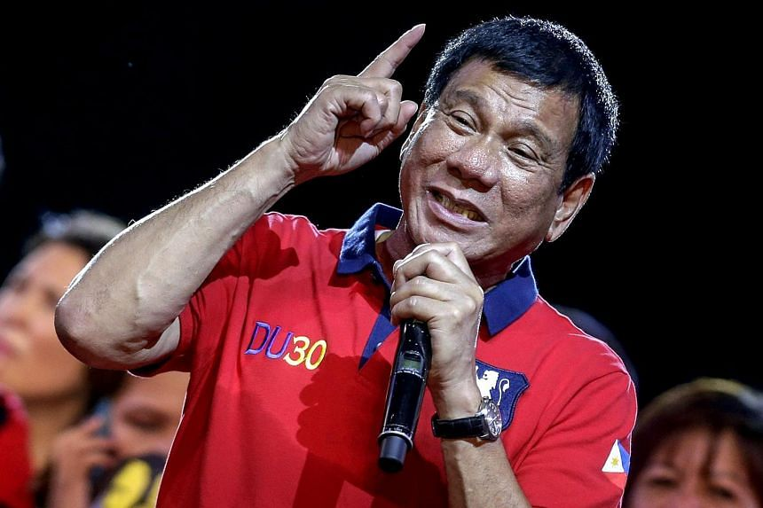 Philippine President-elect Rodrigo Duterte speaking to supporters during a rally in Manila on May 7.
