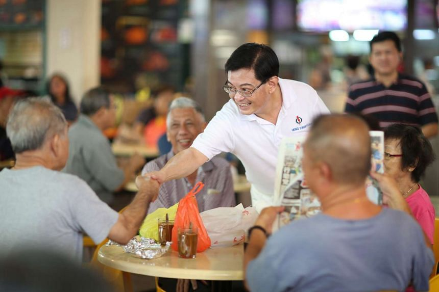 Finance Minister Heng Swee Keat thanking Tampines residents after last year's general election.