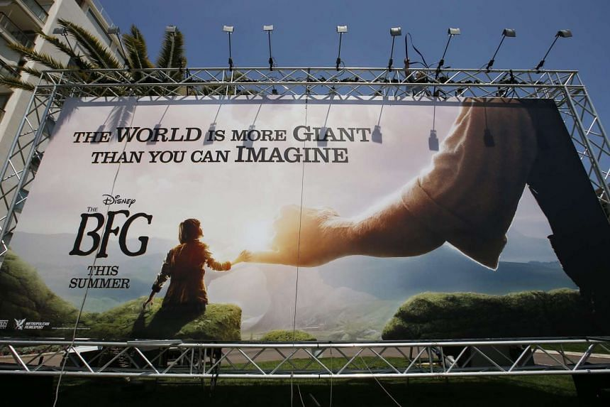 A poster of The BFG by US director Steven Spielberg on display on the eve of the opening of the 69th Cannes Film Festival, in Cannes, France on May 10, 2016.