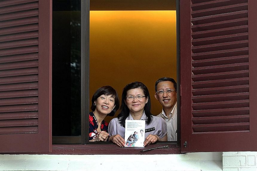 (From left) Prof Brenda Ang, Prof Leo Yee Sin and Dr Leong Choon Kit with their guide. Doctors recommend that women go for influenza and Tdap (tetanus, diphtheria, acellular pertusses) vaccination during every pregnancy.