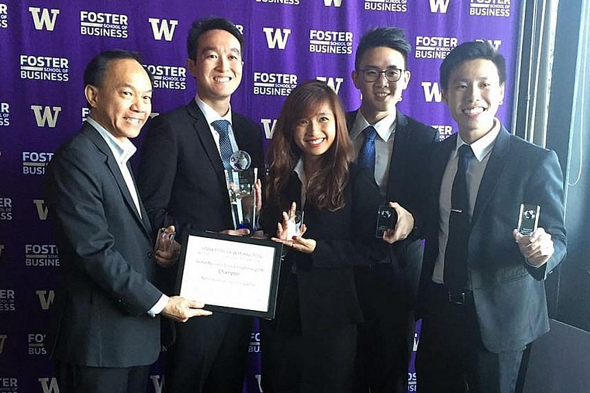 The winning team from the National University of Singapore (above from left): Deputy Dean Professor Hum Sin Hoon, Mr Sean Ling, Ms Jasmine Lim, Mr Fabian Kho and Mr Clayton Chu.