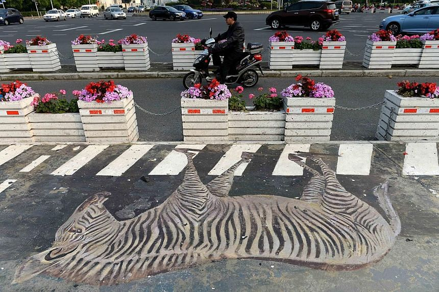 A 3D painting of a zebra on a zebra crossing near a subway station in Shanghai is a reminder to pedestrians to cross safely. Selfie-takers who snap away with abandon risk becoming an endangered species.