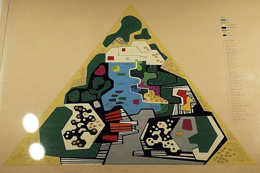 A 1971 gouache on paper design of a garden (above) for Brazil's Ministry of the Army.
