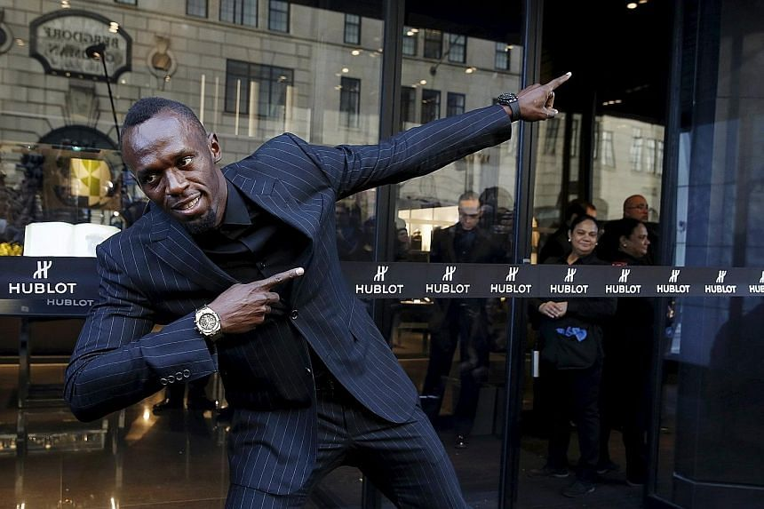 Usain Bolt, seen here at the opening of the flagship Hublot store in Manhattan, will make his 2016 track debut today in the Cayman Islands to gauge his preparation for the Rio Games in August.