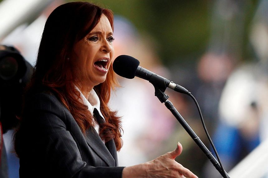 Former Argentine President Cristina Fernandez speaking at a rally in Buenos Aires on April 13.