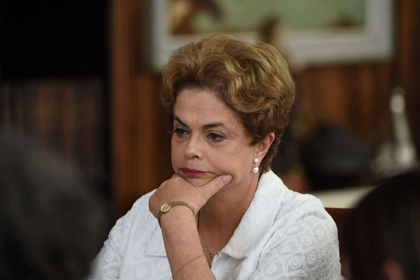 Suspended Brazilian President Dilma Rousseff at a press conference in Brasilia on May 13.