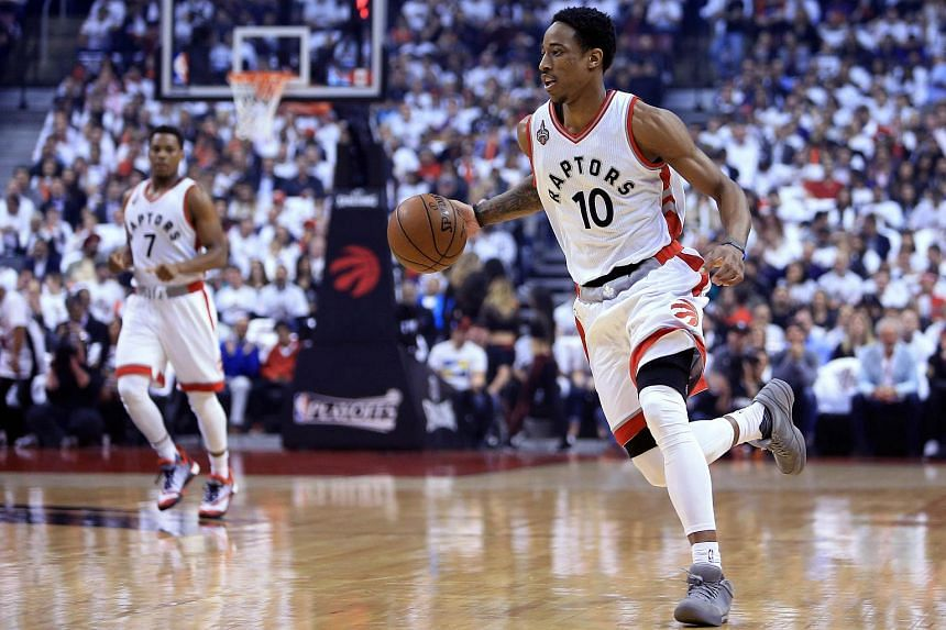 DeMar DeRozan #10 of the Toronto Raptors dribbling the ball in the first half of Game Five of the Eastern Conference Semifinals against the Miami Heat during the 2016 NBA Playoffs on May 11, 2016.