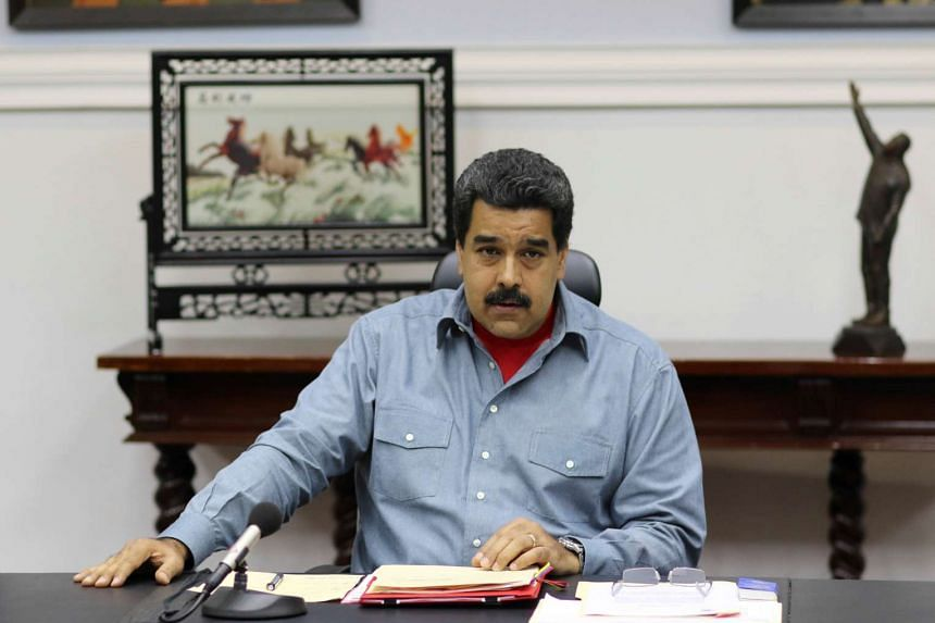 Venezuela's President Nicolas Maduro attending a Council of Ministers meeting at Miraflores Palace in Caracas, Venezuela on May 13, 2016.